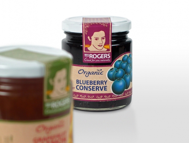 Mrs Rogers blueberry conserve packaging